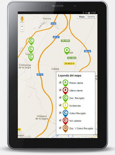 Mapa ruta comerciales tablet android